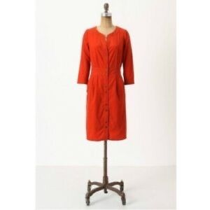 Anthropologie Maeve Corderoy red button down dress